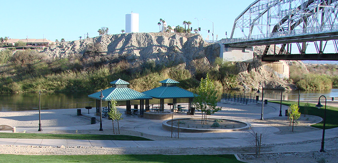 Service Area Yuma Arizona USA 85364 Image of Gateway Park and the Ocean to Ocean Bridge.